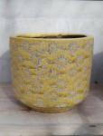 Ü-Topf Marit L, Keramik gelb Blümchendruck  1