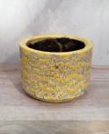 Ü-Topf Marit S, Keramik gelb Blümchendruck  1