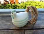 Huhn Gudrun S Keramik weiß gestreift  1
