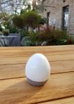 Osterei Keramik H8cm , weiß/grau  1
