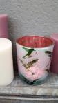 Windlicht Kolibri,mattweiß/pink  1