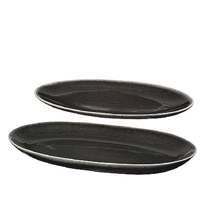 "ovales Plattenset ""Nordic Coal"" 2tlg. 14x23cm I 18x30cm"