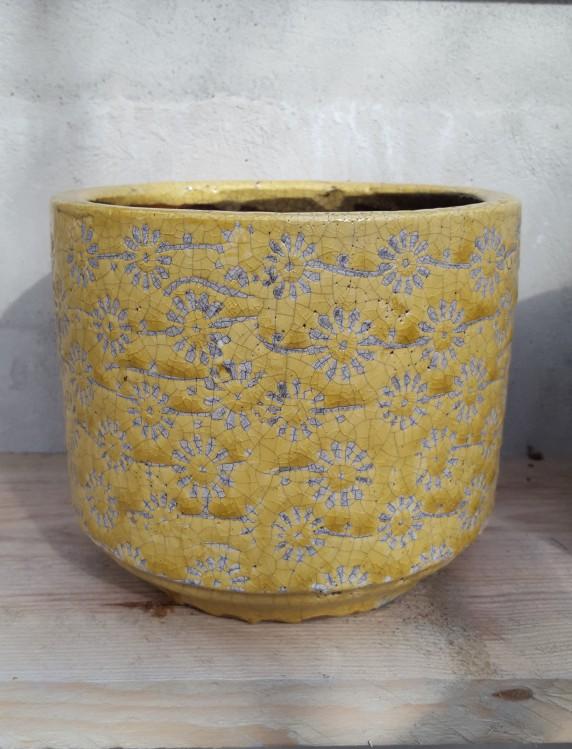 Ü-Topf Marit L, Keramik gelb Blümchendruck