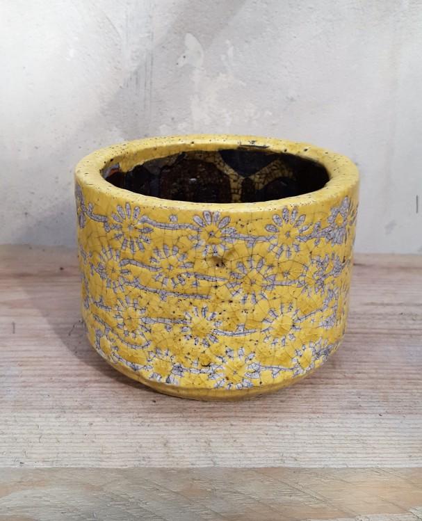 Ü-Topf Marit S, Keramik gelb Blümchendruck