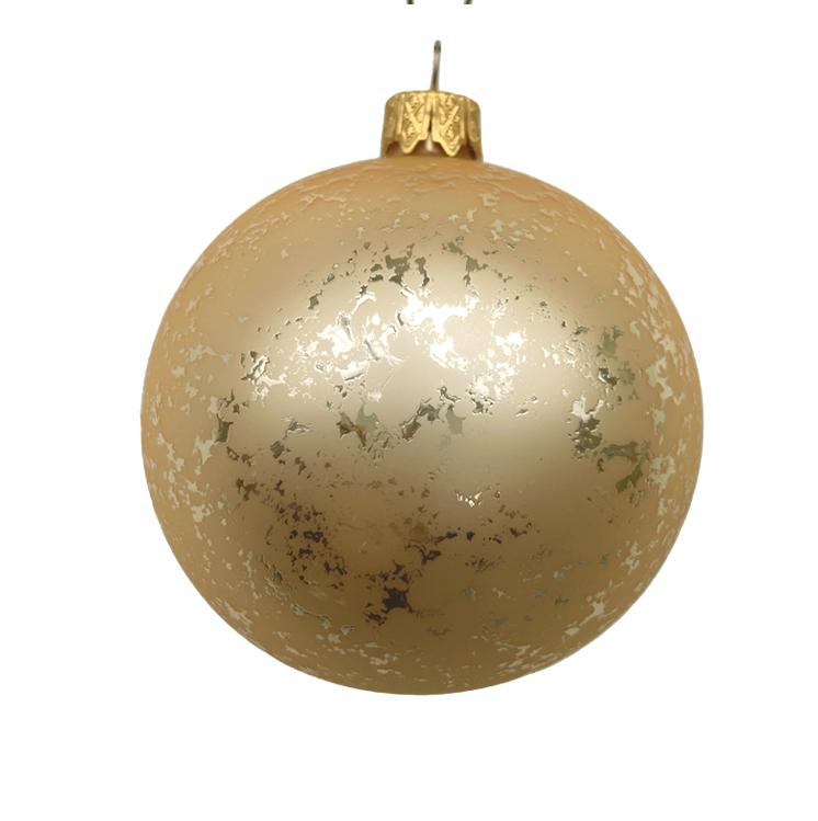 Christbaumkugel, gold geschwammt, Glas, 6er Box