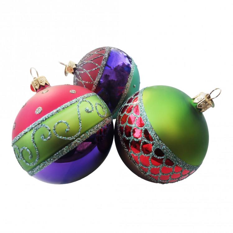 3 christbaumkugeln harlekin tricolore dreifarbig das. Black Bedroom Furniture Sets. Home Design Ideas