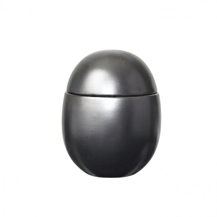 "Gefäß Ei ""Curves"" groß schwarz-silber"