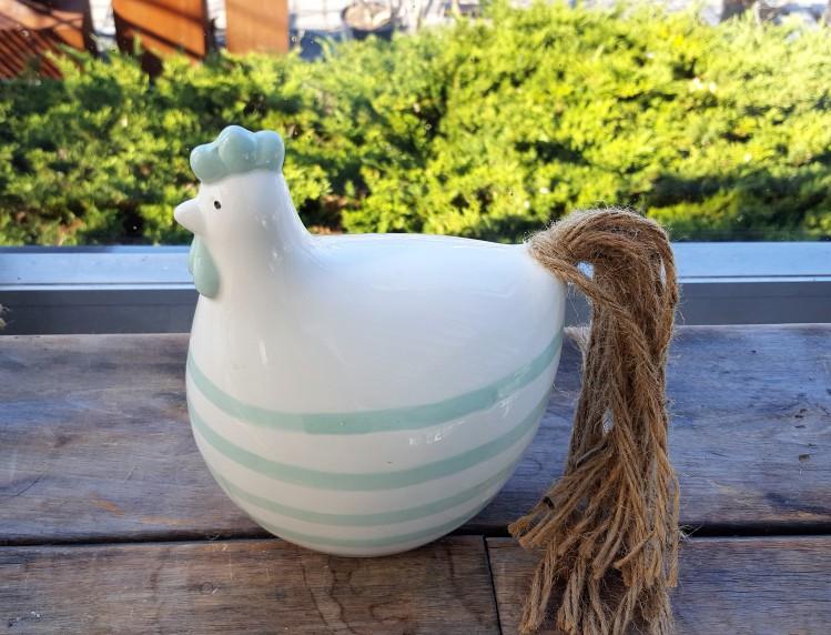 Huhn Gudrun M Keramik weiß gestreift