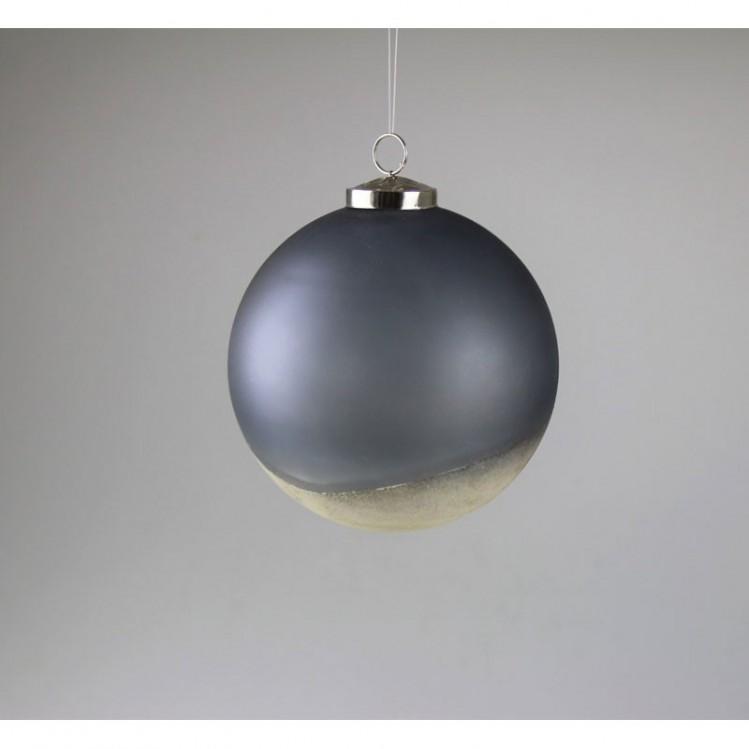 Christbaumkugel grau/gold, Glas