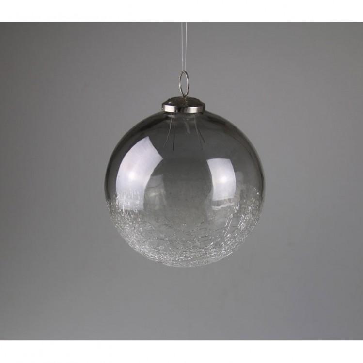 Glaskugel klar/grau dickes Glas, innen und außen 12 cm