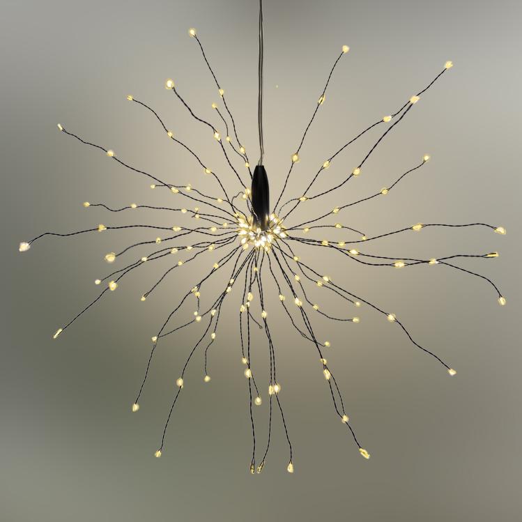 LED Stern Lichterball Funkelfunktion schwarz D 30cm 160 LED warmweiß für innen und außen