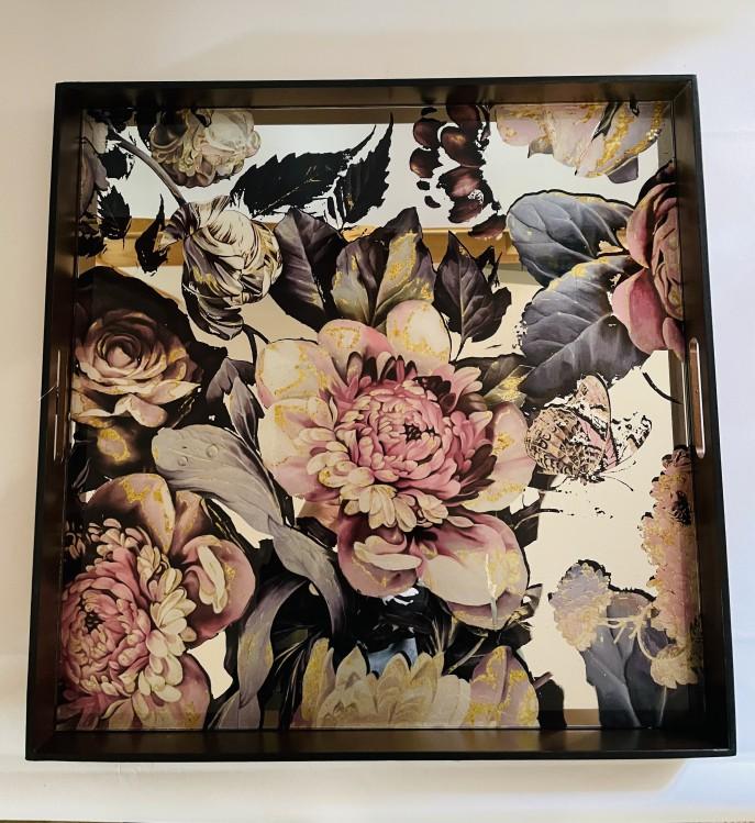 PTMD Spiegeltablett Floral eckig 50x50cm mit Henkel
