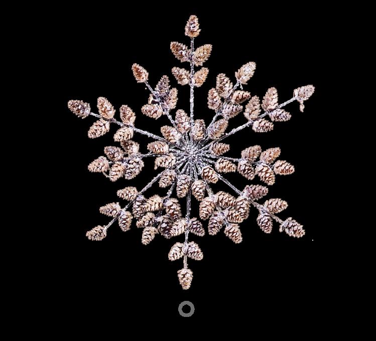 Adventsschmuck Schneeflocke mit Lärchenzapfen 45 cm