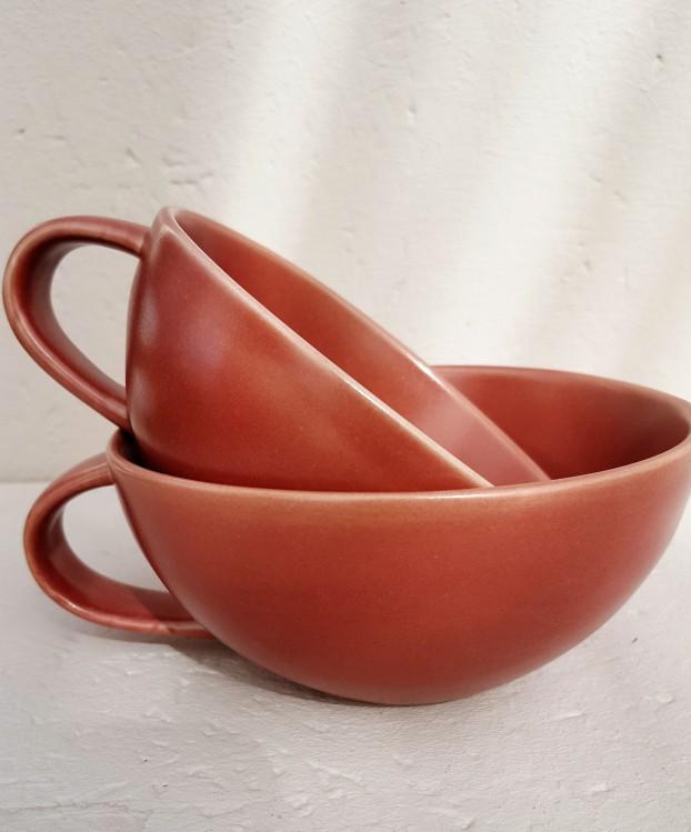 Tasse Keramik rosé rot S