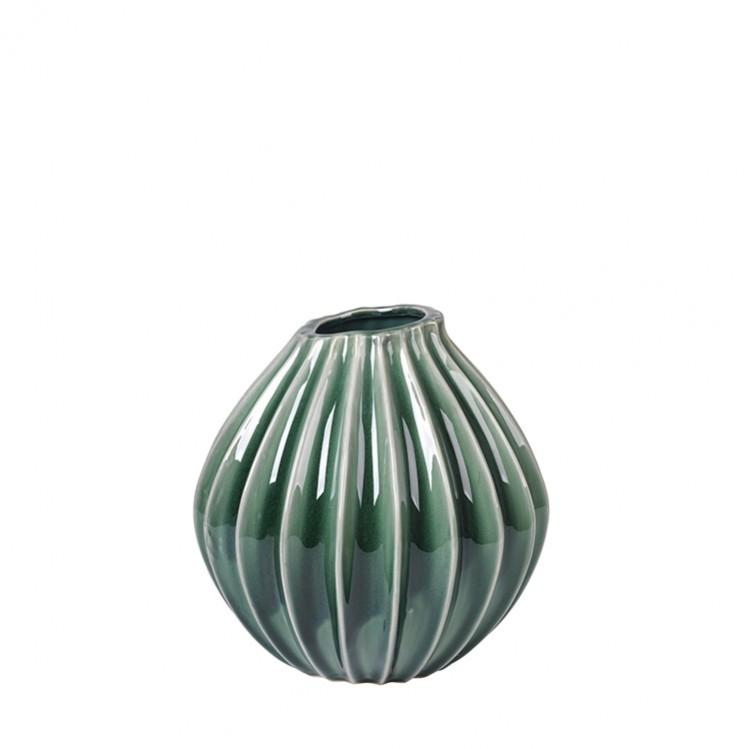 "Broste Vase ""Wide"" green/ sycamore 15cm"