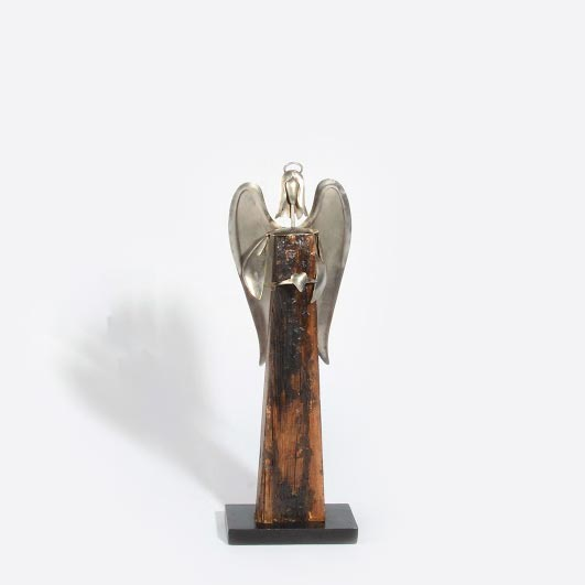 "Engel ""Zwaar"" aus Holz & Edelmetall M – 57 x 17 x 9 cm"