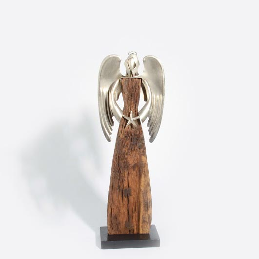 "Engel ""Zwaar"" aus Holz & Edelmetall L – 65 x 22 x 6 cm"