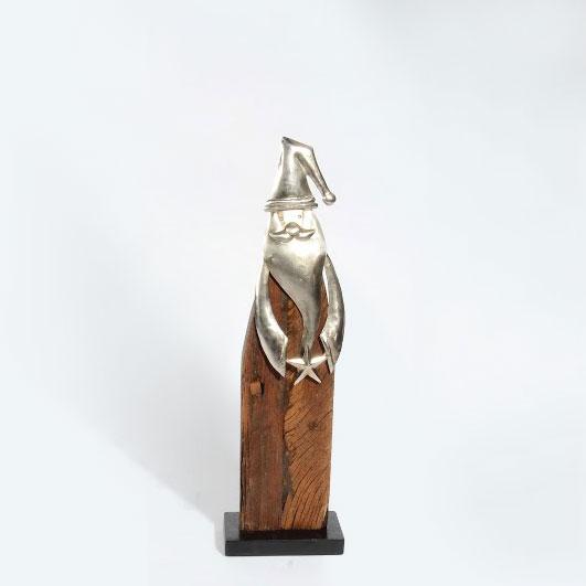 """Weihnachtsmann """"Zwaar"""" aus Holz & Edelmetall L – 70 cm"""