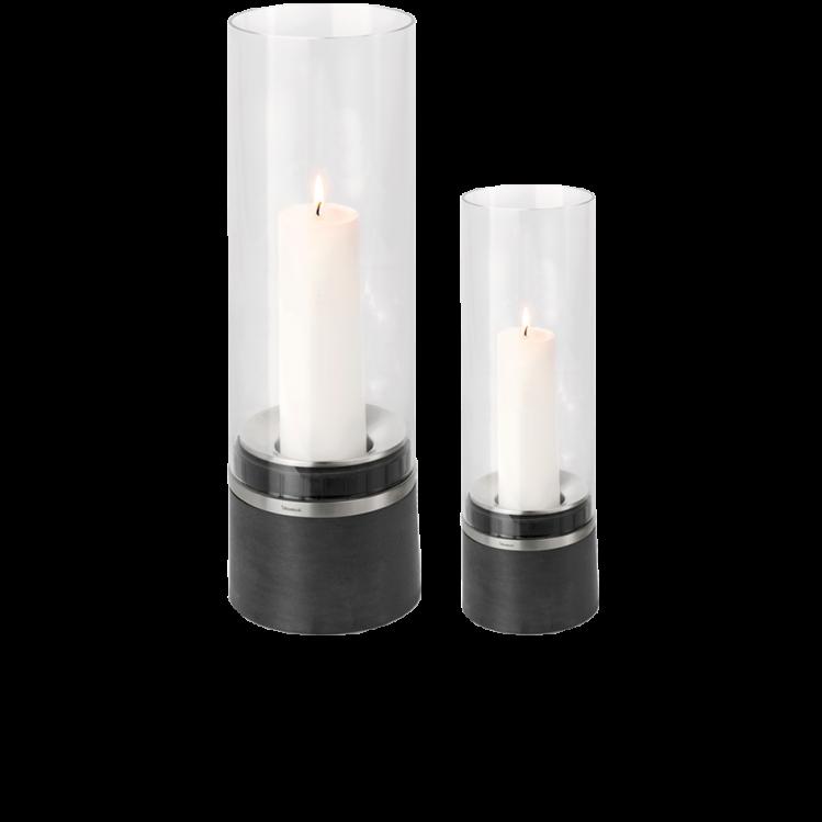Blomus PIEDRA - Windlicht mit Kerze, Edelstahl