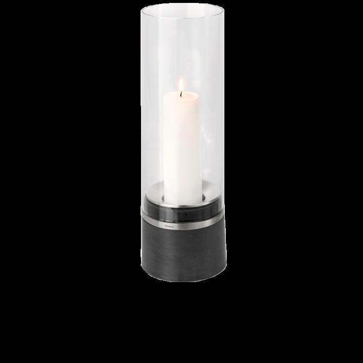 Blomus PIEDRA - Windlicht mit Kerze, Edelstahl 47 x D16 cm