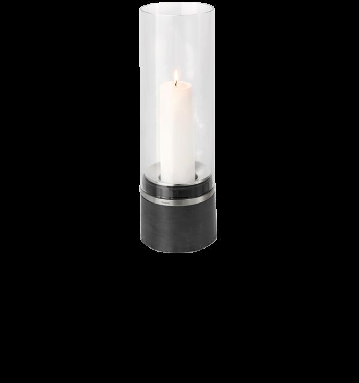 Blomus PIEDRA - Windlicht mit Kerze, Edelstahl 33 x D12 cm
