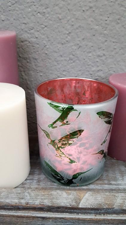 Windlicht Kolibri,mattweiß/pink