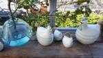 Huhn Gudrun S Keramik weiß gestreift  2
