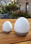 Osterei Keramik H8cm , weiß/grau  2
