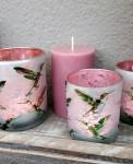 Windlicht Kolibri,mattweiß/pink  2