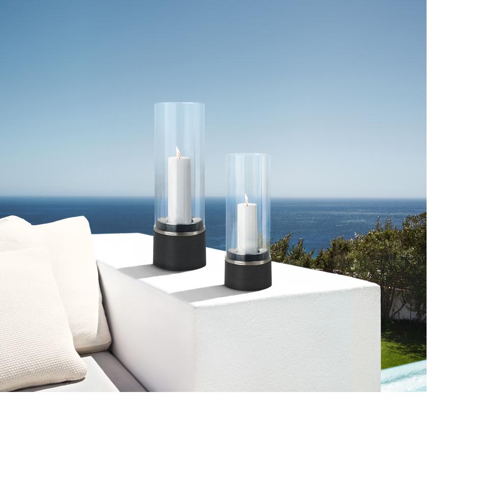 blomus piedra windlicht mit kerze edelstahl das glashaus. Black Bedroom Furniture Sets. Home Design Ideas