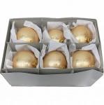 Christbaumkugel, gold geschwammt, Glas, 6er Box  3