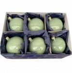 Christbaumkugel salbei/grün opal, Glas, 6er Box  3