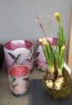 Windlicht Kolibri,mattweiß/pink  3
